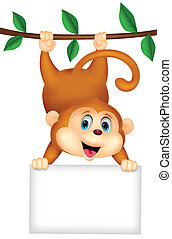 Cute monkey cartoon with blank sign