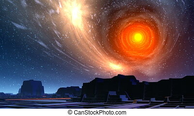 White hole and city of aliens - Over the city of the aliens,...