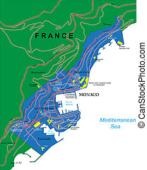 Monaco Map - Highly detailed vector map of Monaco with...