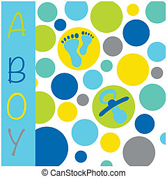 Baby newborn birth announcement card boy with baby feet, dummy and circles