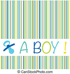 Baby newborn birth announcement card boy with striped pattern and a dummy