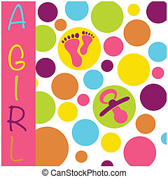 Baby newborn birth announcement card girl with baby feet, dummy and circles