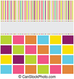 Greeting card background with symmetrical stripes and block...