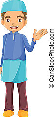 A Muslim boy waving his left hand - Illustration of a Muslim...
