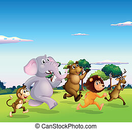 Five wild animals running - Illustration of the five wild...