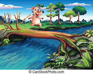 A female pig crossing the river - Illustration of a female...