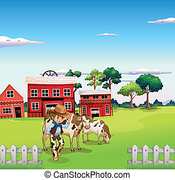 A cowboy with a cow inside the fence - Illustration of a...