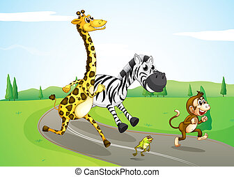 Animals running at the street - Illustration of the animals...