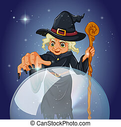 A witch with a cane in front of a magical ball -...