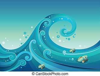 A big wave in the sea with fishes
