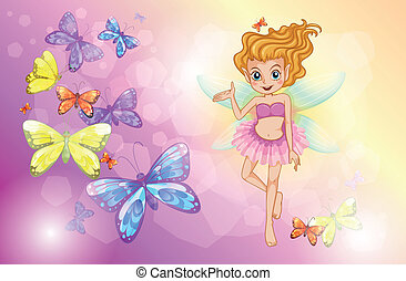 A fairy with the colorful butterflies