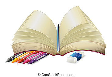 A book with a pencil, an eraser and crayons - Illustration...