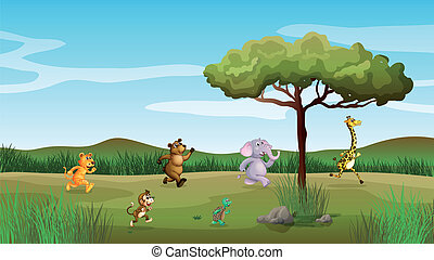 Animals racing at the hill - Illustration of animals racing...