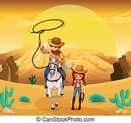 A cowboy and a cowgirl at the desert - Illustration of a...
