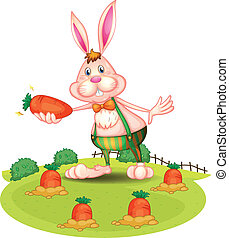 A rabbit at the farm with carrots - Illustration of a rabbit...