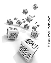 Bar-codes - Falling cubes with bar-codes