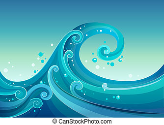 High waves at the sea - Illustration of the high waves at...