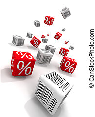 Discount - Symbols of percent and bar-codes on cubes