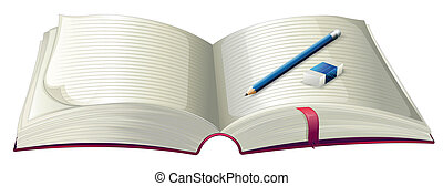 A book with a pencil and an eraser - Illustration of a book...