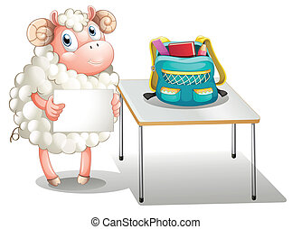 A sheep holding an empty signboard
