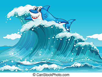 A shark above the big waves - Illustration of a shark above...