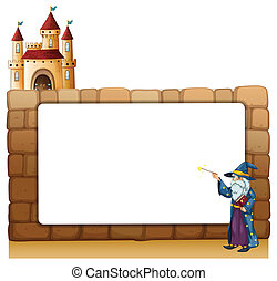 A wizard in front of an empty white signage with a castle -...