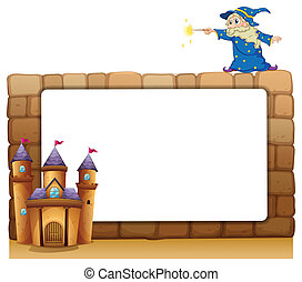 An empty signage with a wizard and a castle - Illustration...