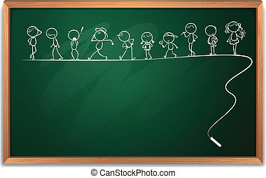 A blackboard with a drawing of kids dancing