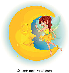A fairy with a yellow dress beside a sleeping moon -...