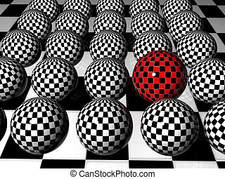 Individuality - 3d red chess sphere wich is different from...