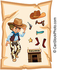 A special paper with an image of a cowboy - Illustration of...