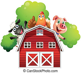 A barn with animals at the rooftop - Illustration of a barn...