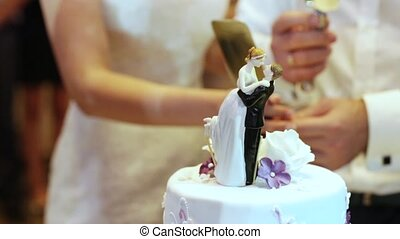 Wedding cake - Cutting and folding plates on the wedding...