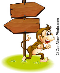A monkey running beside the empty arrowboards - Illustration...