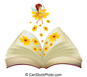 A book with a fairy and flowers - Illustration of a book...