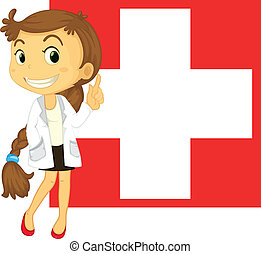 The flag of Switzerland at the back of a doctor -...