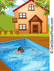 A kid swimming at the pool in the backyard - Illustration of...