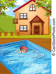 A boy swimming at the pool in his backyard - illustration of...