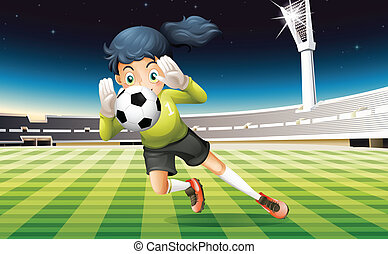 A young lady playing soccer