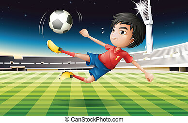jugador, fútbol, joven, rojo, uniforme