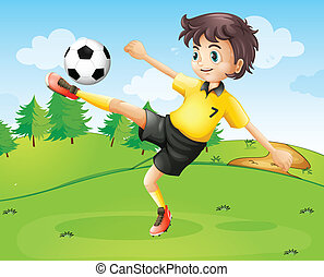 A female football player in her yellow uniform -...