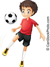 A young man playing football - Illustration of a young man...