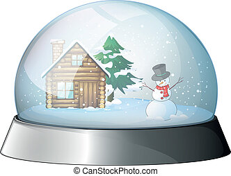 A house and a snowman inside the crystal ball - Illustration...
