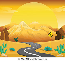 A winding road at the desert - Illustration of a winding...