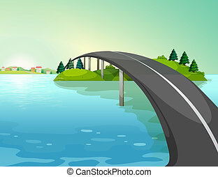 A long road above the river - Illustration of a long road...