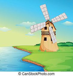 A windmill along the river