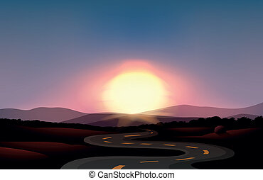 A winding road and the sunset - Illustration of a winding...