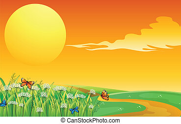 Butterflies in the garden in a sunset scenery - Illustration...