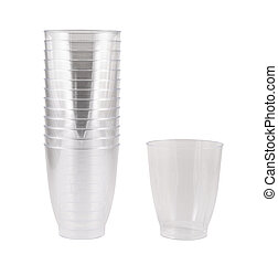 Transparent disposable plastic cups isolated - Transparent...