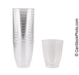 Transparent disposable plastic cups isolated - Transparent...